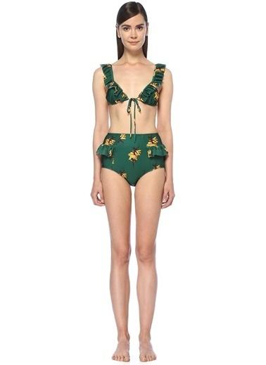 Adriana Degreas Yüksek Bel Fırfırlı Bikini Takım Yeşil